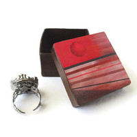 Small Gift Box in brown with decoupaged lid abstract orange sun and varied stripes, trinket box, mini decorative box for men