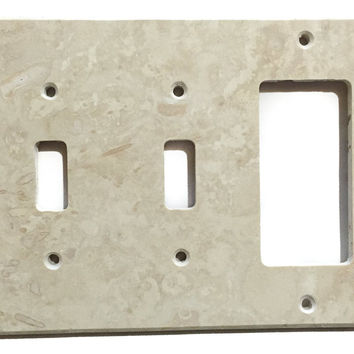 Ivory Travertine Double Toggle Rocker Switch Wall Plate / Switch Plate / Cover - Honed