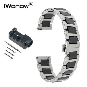 Ceramic & Stainless Steel Watchband + Tools for Tissot Hamilton Citizen Quick Release Watch Band Wrist Strap 12 14 16 18 20 22mm