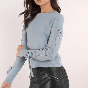 Joa Lucy Lace Up Sleeve Knit Top