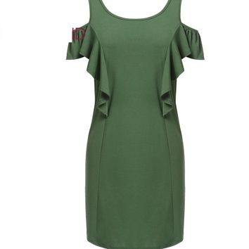 Plus Size Sleeveless Cold Shoulder Ruffles Solid Shift Tank Pencil Dresses