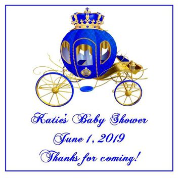 Prince Baby Shower Favor Tag Carriage