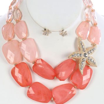 Coral Red Double Layer Starfish Chunky Bib Necklace And Earring Set