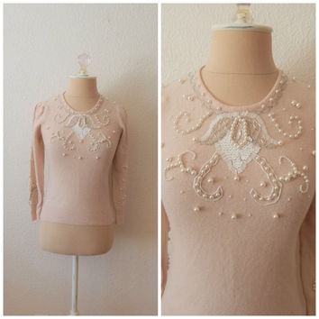 Vintage 80s Petites Pink Beaded Sequin Pearl Lambswool Angora Sweater Size 0 2