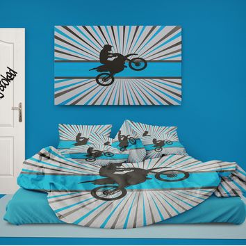 Motocross Comforter on Aqua Blue Burst from Extremely Stoked Motocross Bedding collection