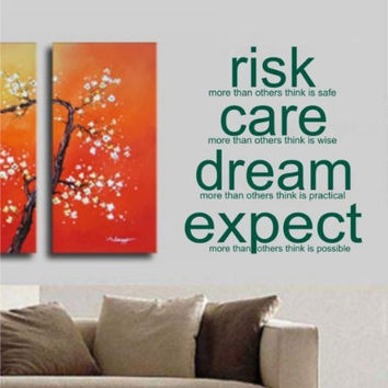 Risk Care Dream Expect Decal Sticker Wall Art Tattoo Words Inspire Office Home