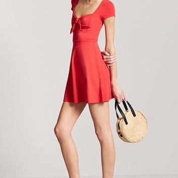 Tie-Front Cutout Mini Dress
