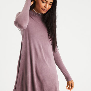 AE Lace-Up-Back Mock Neck Dress, Mauve