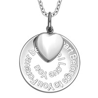 My Heart Belongs to You Forever Inspirational Pendant White Cats Eye Heart Charm Amulet 22 Inch Necklace