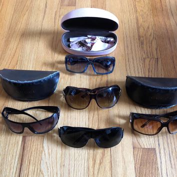 Lot of 5 AUTHENTIC Designer Women's Sunglasses Gucci Versace Juicy Couture Used