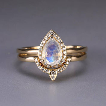 Moonstone engagement ring Vintage Curved Diamond Wedding band Women Antique Pear Shaped cut Stacking Bridal set Anniversary Christmas gift