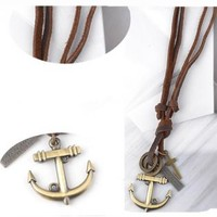 Leather Rope Anchor Pendant Necklace