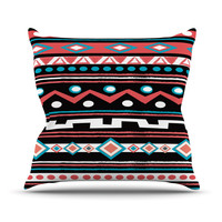 "Nika Martinez ""Black Tipi"" Red Tribal Throw Pillow"