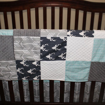 Baby Boy Crib Bedding - Navy Buck, Gray Arrow, and Herringbone Crib Baby Bedding Ensemble
