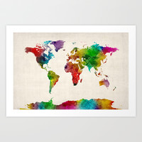 Watercolor Map of the World Map Art Print by ArtPause