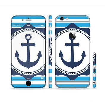 The Vector Navy Anchor with Blue Stripes Sectioned Skin Series for the Apple iPhone 6 Plus