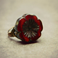 Dark Red Ring, Jewelry Rings, Cocktail Rings, Czech Ring, Scarlet Red Hot, Oxblood, Garnet Flower Sexy Red Ring, Red Fashion - Ring Size 5.5