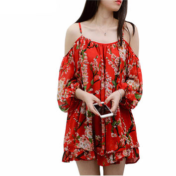 2016 New Blouse Slash Neck Off Shoulder Blousa Chiffon Red Printing Blouses Woman Boho Beach Shirts Tops Feminina