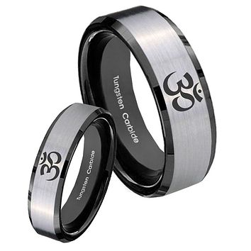 His Hers Silver Black Ohm Design Om Yoga 2 Tone Tungsten Carbide Wedding Rings Set