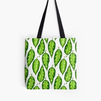 'Tropical leaves' Tote Bag by Katerina Kirilova