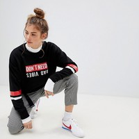 Pull&Bear 'Don't Need Bad Vibes' Sweater at asos.com