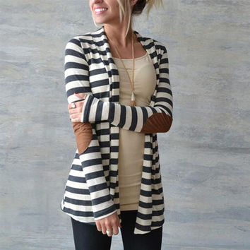 Long Sleeve Striped Printed Cardigan Casual Elbow Patchwork Knitted Sweater Plus Size