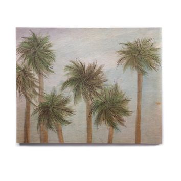 """Rosie Brown """"Tropical Forest"""" Blue Green Coastal Nature Watercolor Painting Birchwood Wall Art"""