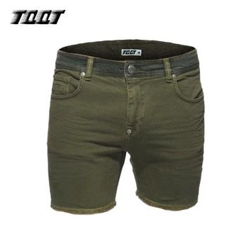 TQQT brand men's shorts straight pleated cargo shorts tassel denim shorts knee length contrast waist summer regular short 5P0608