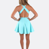 Bright Blue Mini Skater Dress with Open Cross Cross Back