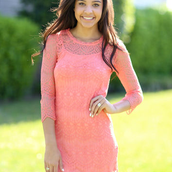 Once Upon a Daydream Dress - Coral