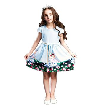 BRWCF 2-8 Years Summer Dresses for Girls Snow White Prints Princess Dress for Party and Wedding 2018 Kid Dresses for Baby Girl