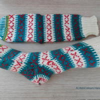 Hand knitted women's unique Christmas socks.