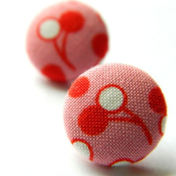 Button Earrings RedWhitePink Cherry 30's/40's by PushTheButtons