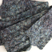 Reversible Marled Wool Hand Knit Scarf