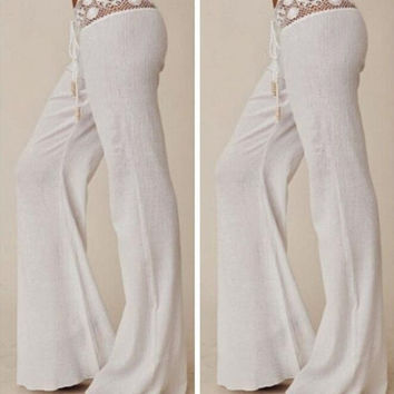 Summer Boho Hippie Women High Elastic Waist Lace  Wite Casual Trousers Long Pants