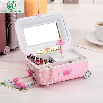 Free shipping Brand New Fashion music box jewelry box Colorful Design Lovely Gift beautiful with mirror and Ballet girl style