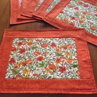 Fall Leaves Place Mats Set of 6, Beautiful Table Linens with Pumpkins, Acorns and Maple Leaves, Quiltsy Handmade