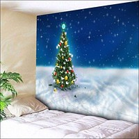 Christmas Tree Wall Art Bedroom Tapestry - Blue W79 Inch * L59 Inch