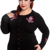Hell Bunny Plus Rockabilly Sailor Skull and Anchor with Pink Bow Cardigan