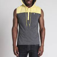 Page Color Block Sleeveless Hooded Knit