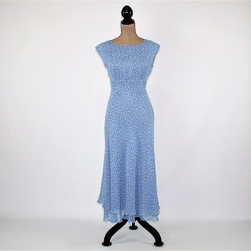 90s Sleeveless Chiffon Silk Dress Light Blue Polka Dot Boho Spring Dress Women Romantic Dress Petite Size 6 Vintage Clothing Womens Clothing