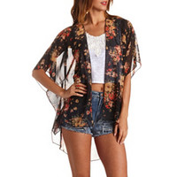 SHEER FLORAL HIGH-LOW KIMONO TOP