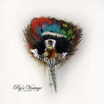 Vintage Kilt Brooch, Scottish Pin, Animal Hair Brooch, Peacock Feathers, Silver Leaves, Amber Glass, Collectible Celtic Jewelry