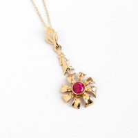 Vintage 14k Yellow Gold Created Ruby Lavalier Pendant Necklace - Art Deco 1930s Pinwheel Flower Charm, 14k Yellow Gold Chain Fine Jewelry