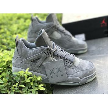 KAWS x Air Jordan Retro 4 4s XX Kaws Cool Grey White Glow Men Basketball Shoes