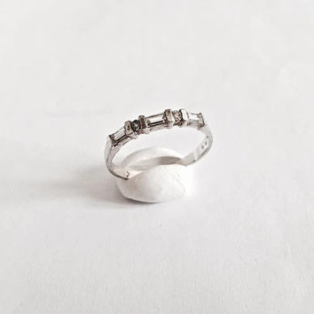 Vintage, Elegant Sterling Silver Baguette and Round CZs Ring, Stackable Ring, Larger Size Ring, Sparkling Ring