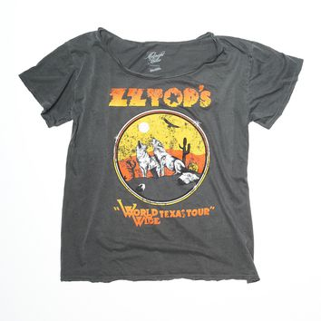 ZZ Top WorldWide Texas Tour - Vintage Black Boyfriend Tee