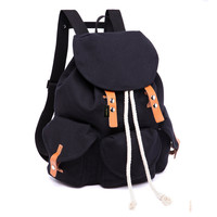 Women's Casual Canvas Backpack Flap School College Ruchsack Daypack