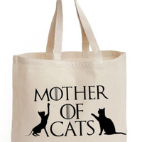 Mother of Cats Cotton Tote school book Bag ladies college shoulder GOT handbag | eBay