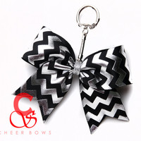 Silver Foil Chevron Cheer Bow Keychain ~ You choose the color